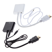 1080P Micro HDMI / Mini HDMI / HDMI to VGA Adapter Converter With Audio Cable VGA Video Adapter HDTV CRT Monitor TV Black, White