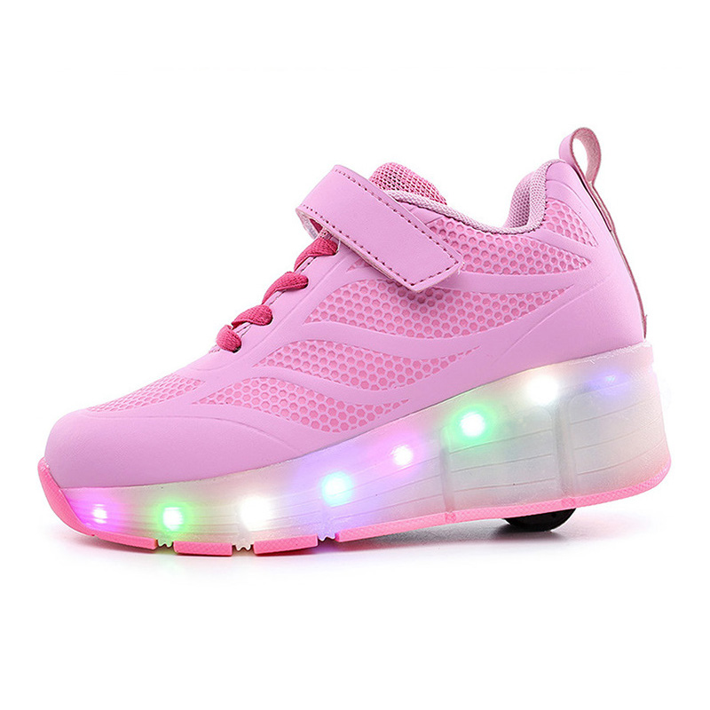Eur 30-41// One Wheel Shoes Basket S Pulley Wheels Shoes Zapatos Automatic Wheel Lights Sports Shoes Kids Sneakers Blue Shoes<br>