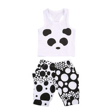2PCS Toddler Kids Baby Girl Clothes Set panda vest Tops T-shirt +pants Outfits set Summer Suit Children Set 0-2Y bebe clothes(China)