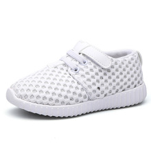 Kids Brand Sport Shoes White Black Boys Causal Breathable Flat Sneaker Pink Princess Girl Mesh Hole Antiskid Training Shoes