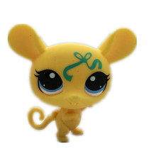 Yellow mice with bows quality toys Lovely Pet shop animal action figure littlest doll toys 2379(China)