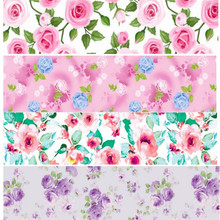 pick color size 16 22 25 38 50 75 mm width rose flower Floral Printed polyester Grosgrain Ribbon or Satin Ribbon  XF115
