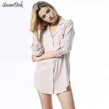 SusanDick Spring And Summer Cotton Nightgown Women Long Sleeve Cardigan Sleepshirts Dress Female Autumn Sexy Lingerie Sleepwear(China)