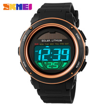 NEW SKMEI Brand Watch Solar energy Men Electronic Sports Watches Multifunctional Outdoor Water Resistant Digital Wristwatches(China)