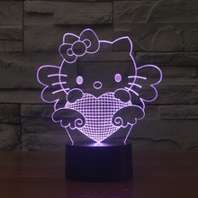 2016 Kitty 3D Hello light color gradient energy saving light novel illusion light stereo lamp(China)