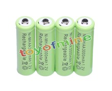 4x AA 3000mAh 2A 1.2 V Ni-MH Green Rechargeable Battery Cell for MP3 RC Toys