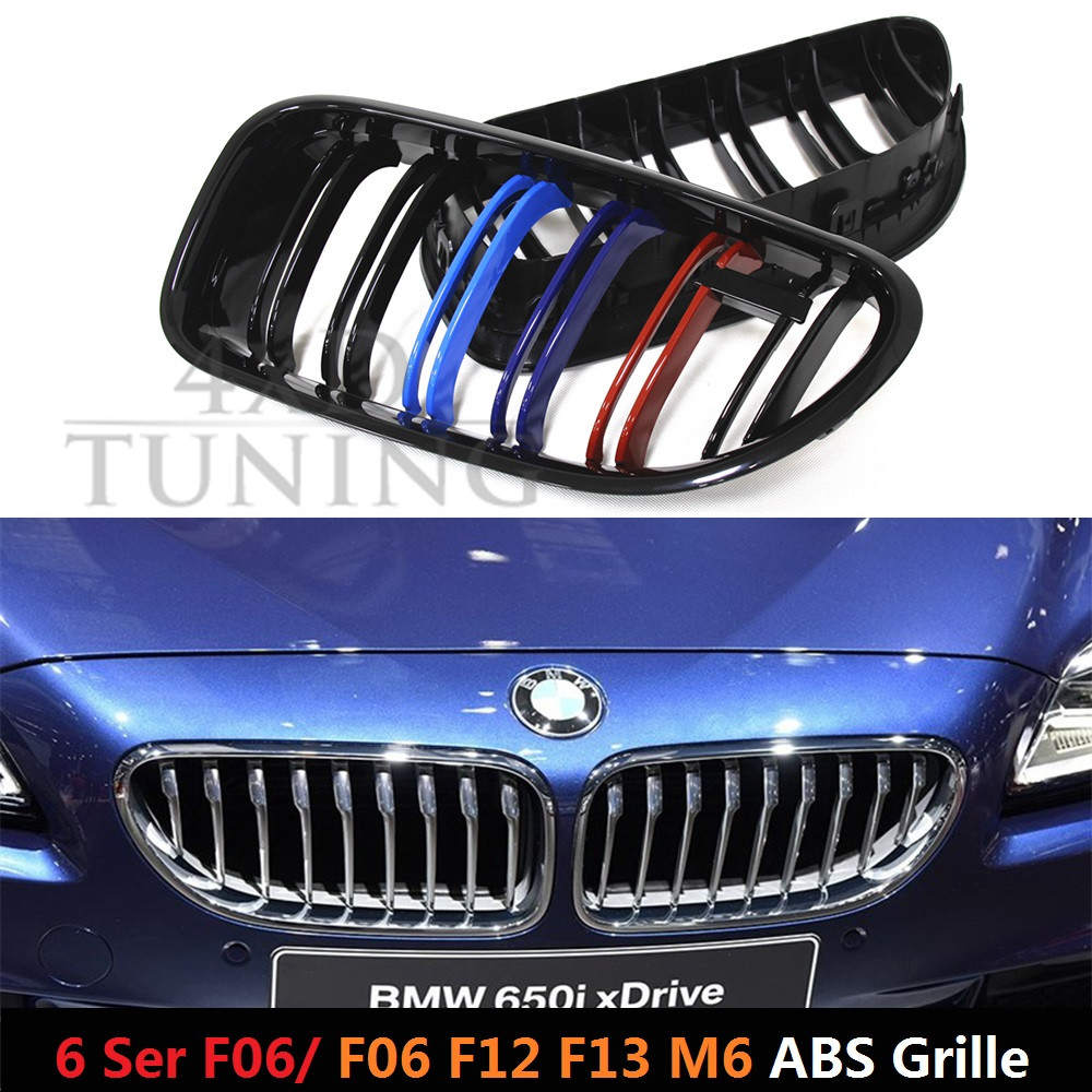 M Look ABS 6 M Series for BMW F06 F12 F13 M6 Plastic Front Grill Dual Slat Glossy Black Finish 2012 2013 2014 2015 2016<br><br>Aliexpress