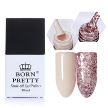 BORN PRETTY Nude Gel Pink Glitter Sequins Gel 10ml Soak Off UV Gel Polish for Nail Art Tips Color 2 Bottles