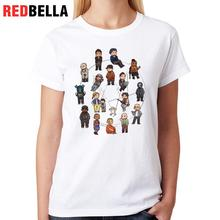 REDBELLA Korean Ulzzang Funny T-shirt Women Pattern Video Games Cartoon Cool Figures Polera Mujer Print Casual Cotton White Tees(China)
