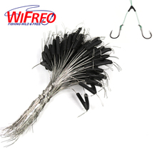Wifreo 50pcs Double Hooks Contactor Device Fishing Line Stop Bifurcation Knot Space Bean Two Hook Fishing Rig Swivel Tying Tool