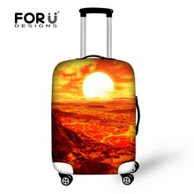 2016 Natural Scenery Printing Elastic Luggage Suitcase Protective Covers Sunrise Style 18-30 Inch Thick Waterproof Luggage Cover(China)