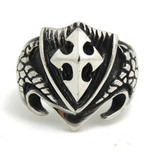 1pc Wholesale Price Mens Boy Cool Cross Ring 316L Stainless Steel Hot Motorcycle Ring