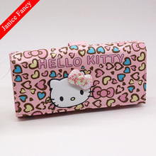 New 2017 Hello Kitty Designer Fashion PU Cartoon Cute Card Holder Long Coin Bolso Mujer Neceser Women Purse Wallet 18*9*3.5cm