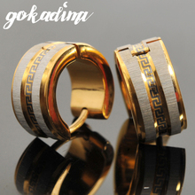 Gokadima 316l Stainless Steel Earrings Stud gold color Greek Key Men Earrings For Punk ROCK, ear cuff, Christmas Gift Jewelry