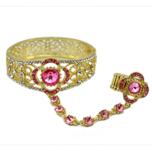 Special Unique Design Hand Chain Crystal Flower Cuff Bangle With Finger Ring Fashion Accessory(China)