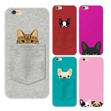 2016 Animal Lovely Cartoon Soft Tpu Back Cover Phone Case For Iphone 5 5s 6 6s 6plus Design Pocket For Cat And Dogs Pattern