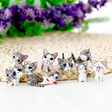 9pcs/lot Cute Cheese Cats Figurines Miniatures Hello Kitty Cat Japanese Anime Mini Garden Action Figures Toys(China)