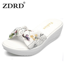ZDRD New WomenSandalsFashionFlower Summer Sandals Wedges Flip Flops Platform Slippers Shoes slippers zapatillas chinelo sandalia