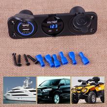 CITALL Blue Dual USB Charger + Voltmeter+ 12V Cigarette Lighter Socket + 3 Hole Panel Marine LED for Car Boat Motorcycle UTV ATV(China)