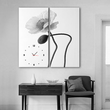 Free Shipping Art Print E-HOME Elegant Flowers Clock in Canvas 2pcs wall clock