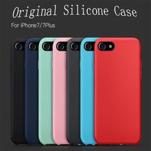 For iPhone 7 8 Plus Luxury Official Design Silicon Silicone Case Original Slim Elegant Protective Phone Back Cover Coque shell