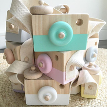 Wooden Camera Cute Mini Toys Safe Natural for Baby Children Fashion Clothing Accessory Blue Pink White Birthday Christmas Gifts(China)