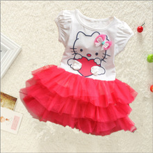 Girl Summer Wear Tutu Dress Hello Kitty Cat Dress Thick And Disorderly Cartoon Lovely Skirt toddler girls birthday dress