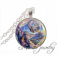 Creative Children's Magic Dream World Glass Pendants A Dream Within A Dream Charms Necklaces Earth Animal Music World Jewelry(China)