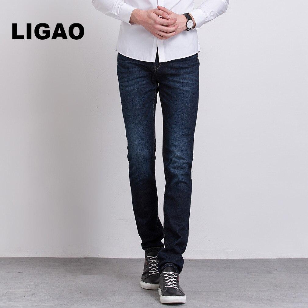 LIGAO Mens Jeans Regular stretch Leisure Pant Mens Trendy Elastic Mid Waist Straight Pants Casual Trousers Male Jeans VaquerosÎäåæäà è àêñåññóàðû<br><br>