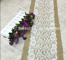 1PC Burlap Hessian With Lace Center Crochet Table Runner For Wedding Party Home Decoration Tablecloths For Sale Table Lines