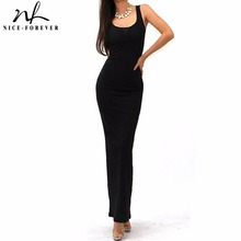 Nice-forever Sexy sleeveless solid tank BASIC scoop neck Ankle Length Racerback casual long maxi Summer beach Bodycon dress 801(China)