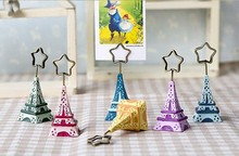 Factory Directly Sale Wedding Favor  Romantic Paris Eiffel Tower Message Folders Photo Folders Place Card Holder Wholesale