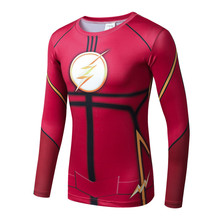 Compression shirt Flash 3 d printing men long sleeve T-shirt the civil war costume thin body fitness sportswear jackets men