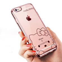 "Soft TPU Clear Plating Phone Case Cover For Apple iphone 6 6S Plus 5.5"" 6 6S 4.7"" Lovely Cartoon Mickey Minnie Bear Hello Kitty"