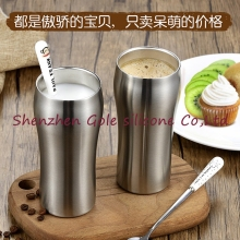 100pcs High Quality Double Wall 400ml Stainless Steel Beer Mug Coffee Cup Keep Drink Hot and Cold Mug Cooler Cup Novetly Gifts