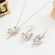 Fashion Jewelry Set Of Pierced Rhinestone Flying Silver Plated Butterfly Romantic Jewelry Set For Bridal Accesories Nice Gift(China)