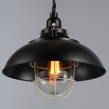 Retro Industrial Style Pot Lid Shape Lustres Loft Heavy Pendant Lamp Antique Cord Pendant Light For Bar Bedroom Study