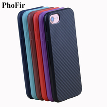 PhoFir Carbon fiber back case for iPhone 7 6 6S 8 Plus Business Style Slim Soft TPU Cover Black Blue Red Brown Purple
