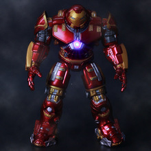 2015 Hot NEW 1pcs movie avengers 2 18cm Age of Ultron light Iron man metal color Mark 43 Hulkbuster PVC Action Figure toys doll(China)