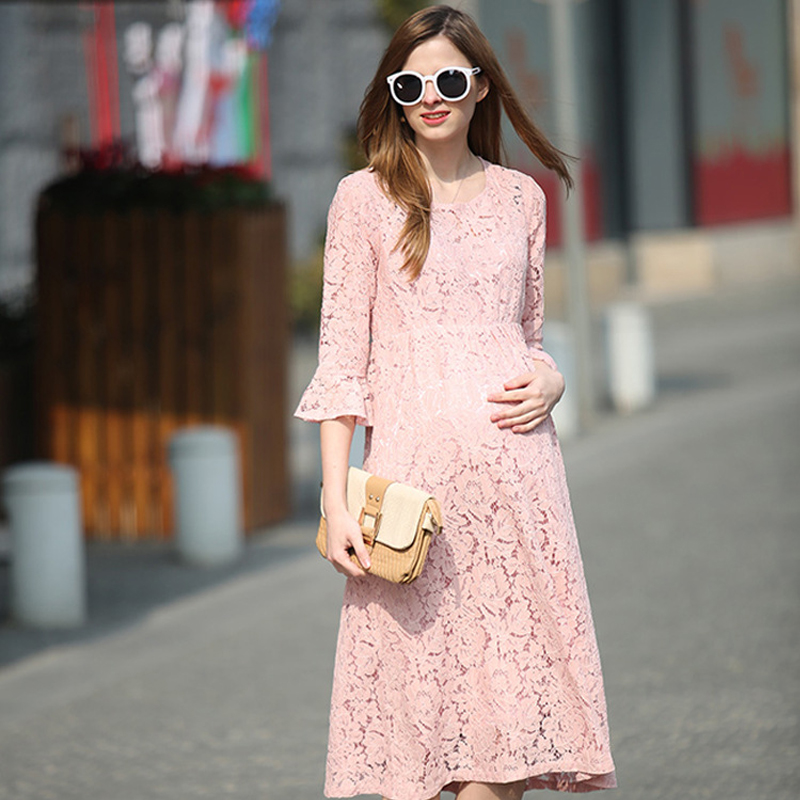 Pregnant women dress lace dress 2018 spring and summer new maternity dress European and American fashion sleeves dress loose<br>