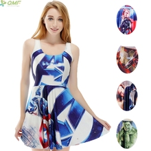 The Avengers 3d Print Women Vest Dress Captain America Thor Iron Man The Hulk Novelty High Waist Girl Tank Dress Marvel Heroes