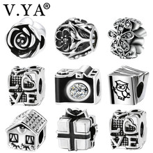 Buy V.YA Fits Pandora Beads Bracelet Bangle Love/Rose/House/Camera/Book/Box Charms Jewelry Making Couple Children Family Gif for $1.47 in AliExpress store