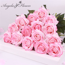 15 pcs/lot Silk real touch rose artificial gorgeous flower wedding fake flowers for home party decor Valentine's gift(China)