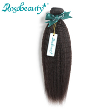Rosa Beauty Hair Products Indian Remy Hair Kinky Straight 100% Human Hair Weave Bundles Natural Color Hair Extensions(China)