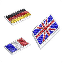 Rhinestone business card holder promotion shop for promotional union jack french germany flag style business name credit id card holder box metal stainless steel colourmoves