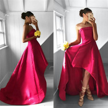 Strapless Hi-low Prom Dresses 2019 Luxury Satin Formal Dress Evening Wear  Cheap Under 100 2427d9352351