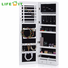 Lifewit Jewelry Cabinet Wall Door Mounted Bedroom Armoire Lockable Organizer with Mirror LED Light, White(China)