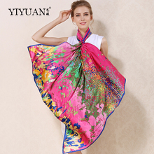 100% Natural Silk Square Scarves Flower Ocean Printed Women Scarf Shawl Upscale Sunscreen Female Neckerchief Shawls FJ110HH