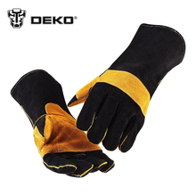 DEKOPRO 15 Inch Leather Welding Gloves - For Tig Welders/Mig/Fireplace/Stove/BBQ/Gardening/Welding Mask/DIY Wood Working(China)