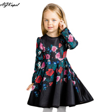 AGKupel Autumn Winter Girl Long Sleeve Cotton Elegant Dress Printing Infant Party Flower Girl Perfume Princess Flower Children